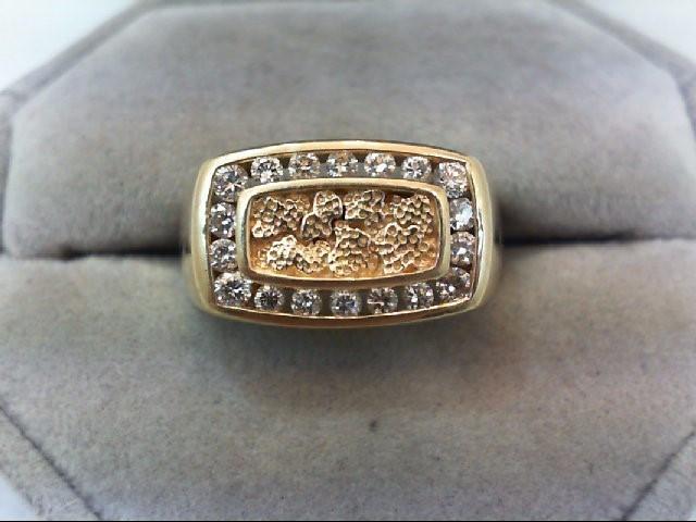 Gent's Diamond Fashion Ring 18 Diamonds .76 Carat T.W. 14K Yellow Gold 7.9g