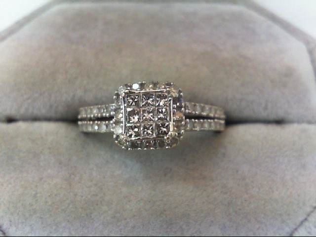Lady's Diamond Engagement Ring 49 Diamonds .76 Carat T.W. 10K White Gold 2.3g
