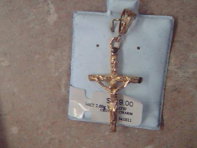 CRUIFIX CROSS PENANT CHARM SOLID 14K GOLD CATHOLIC JESUS RELIGIOUS