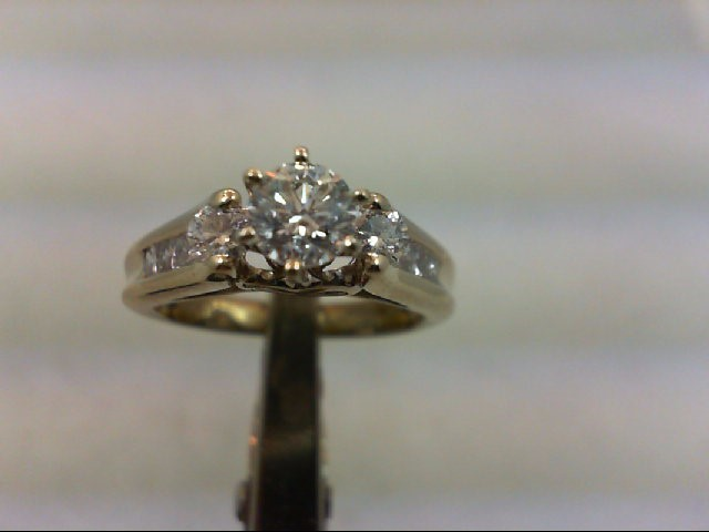 Lady's Diamond Engagement Ring 9 Diamonds .98 Carat T.W. 14K White Gold 4.92g