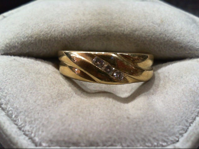 Gent's Gold-Diamond Wedding Band 3 Diamonds .06 Carat T.W. 14K Yellow Gold 3.8g