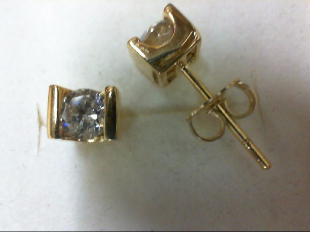 Gold-Diamond Earrings 2 Diamonds 0.7 Carat T.W. 14K Yellow Gold 2.3g