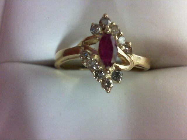 Lady's Stone & Diamond Ring 10 Diamonds 0.4 Carat T.W. 14K Yellow Gold 2.7g