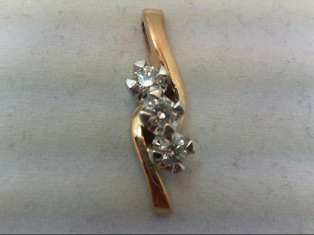 Gold-Multi-Diamond Pendant 3 Diamonds .36 Carat T.W. 14K Yellow Gold 2.7g