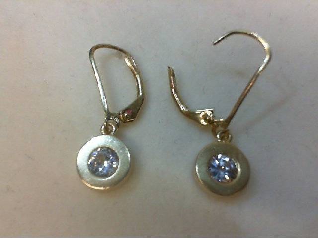 Cubic Zirconia Gold-Stone Earrings 14K Yellow Gold 2.2g