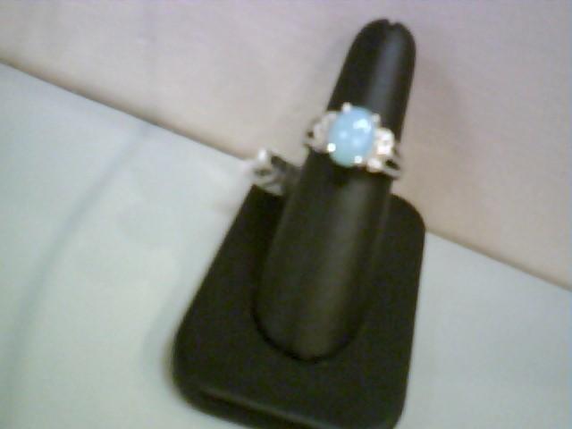 Lds Chalcedony & Diamond Ring 6 Diamonds .06 Carat T.W. 14K White Gold