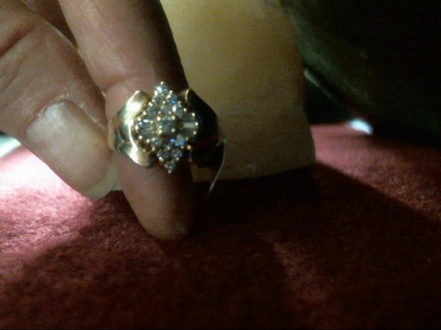Lady's Diamond Cluster Ring 19 Diamonds .27 Carat T.W. 14K Yellow Gold 4.1dwt