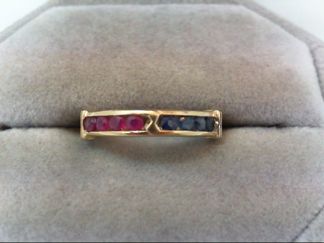 Ruby Lady's Stone Ring 14K Yellow Gold 2.2g
