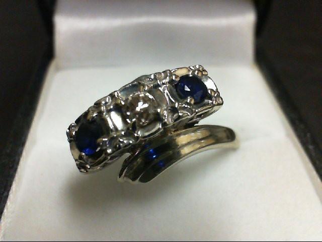 Sapphire Lady's Stone & Diamond Ring 0.2 CT. 14K White Gold 6g