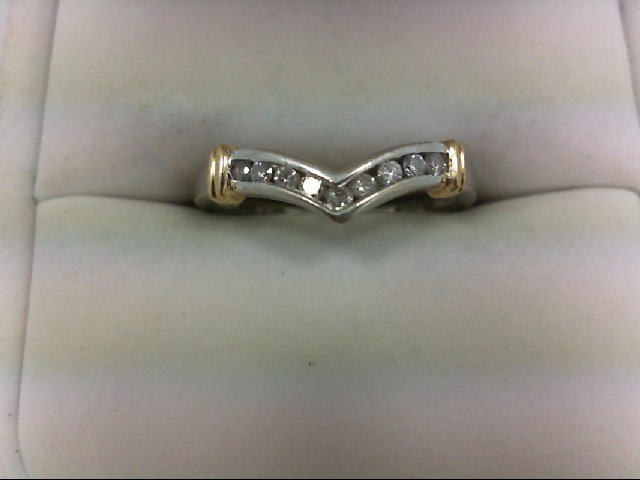 Lady's Diamond Wedding Band 9 Diamonds 0.27 Carat T.W. 10K 2 Tone Gold 2.2g