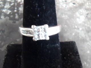Lady's Diamond Cluster Ring 12 Diamonds .64 Carat T.W. 14K White Gold 3.4dwt
