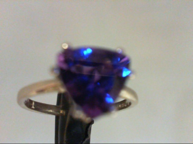 Synthetic Amethyst Lady's Silver & Stone Ring 925 Silver 2g Size:6.5