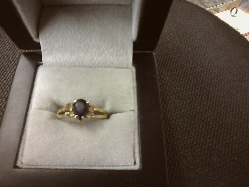 Pear Blue Sapphire Lady's Ring 10K Yellow Gold 1.4dwt Size:6.7