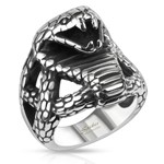 STAINLESS STEEL FIERCE COBRA WIDE CAST RING