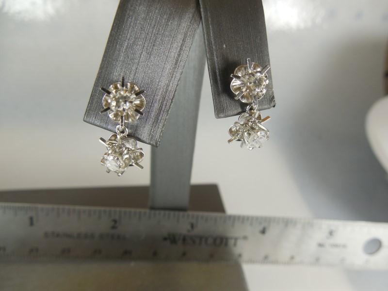 WHITE GOLD EARRINGS: 4 DIAMONDS .70 Carat T.W. 10K White Gold 2g