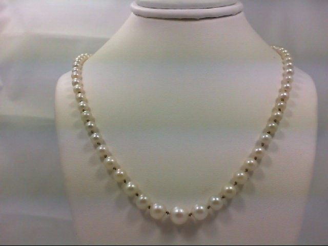 "19"" Synthetic Pearl Strand Stone Necklace 14K White Gold 11.6g"
