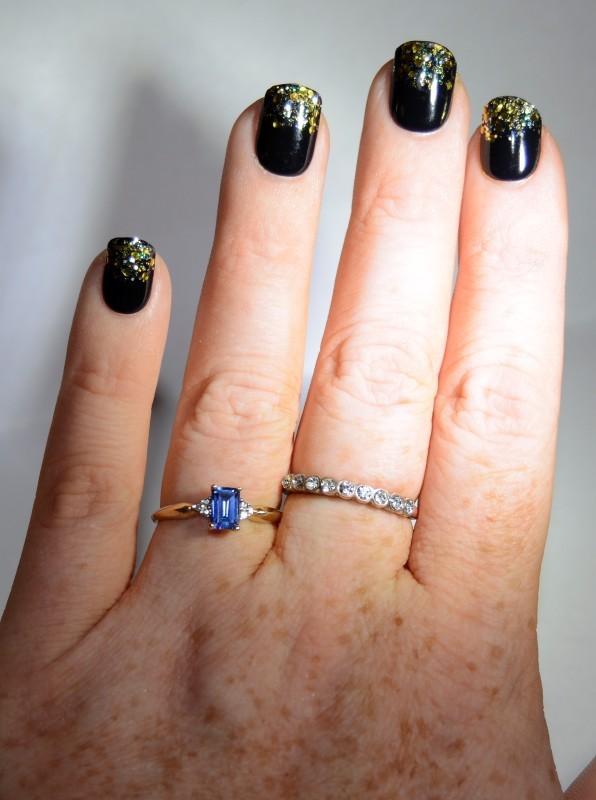 10K Yellow Gold Dainty Tapered Shank Emerald-Cut Tanzanite & Diamond Ring sz 6.7