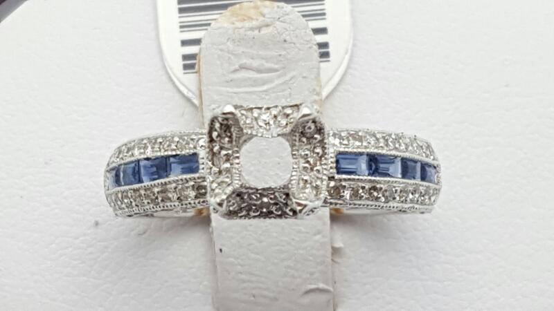 Lady's sapphire & Diamond Ring 33 Diamonds .33 Carat T.W. 14K White Gold 4