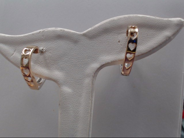 Gold-Diamond Earrings 16 Diamonds .48 Carat T.W. 14K 2 Tone Gold 6.3g
