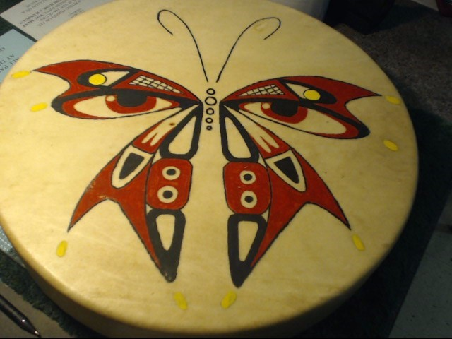 NATIVE DRUM WITH BUTTERFLY
