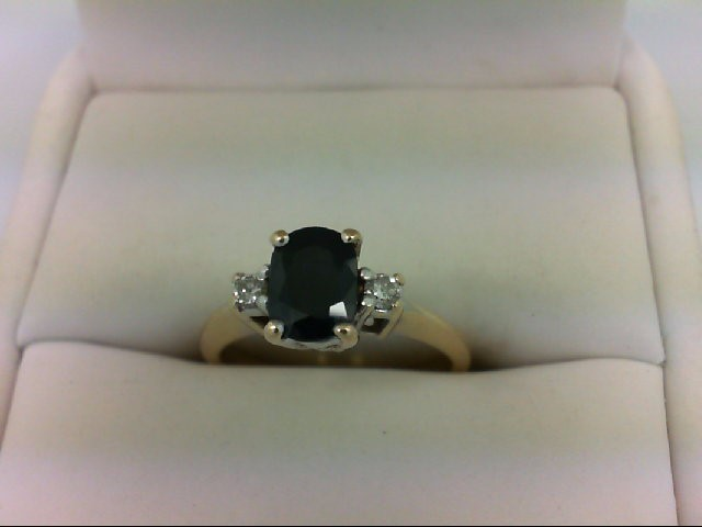 Sapphire Lady's Stone & Diamond Ring 2 Diamonds 0.1 Carat T.W. 14K Yellow Gold 3