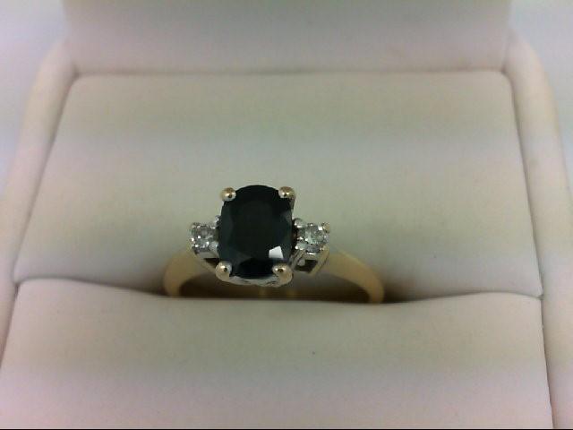 Sapphire Lady's Stone & Diamond Ring 2 Diamonds 0.1 Carat T.W. 14K Yellow Gold 3