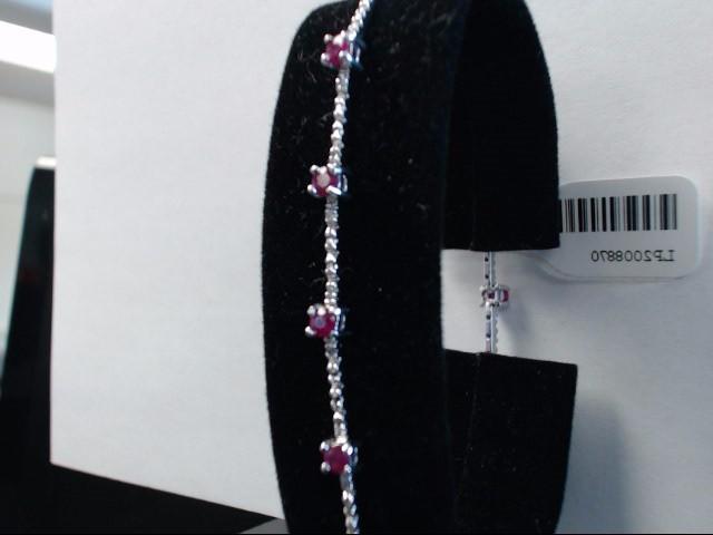 Ruby Gold-Stone Bracelet 10K White Gold 4.95g