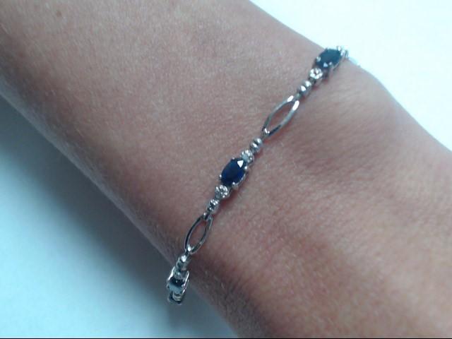 Sapphire Gold-Stone Bracelet 10K White Gold 3.68g