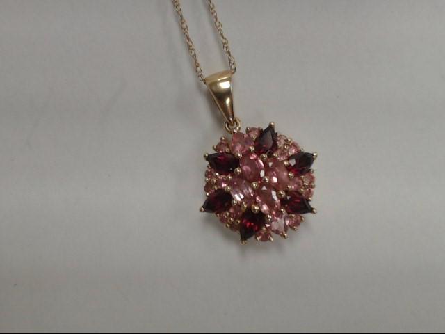 "19"" Almandite Garnet Stone Necklace 14K Yellow Gold 4.63g"