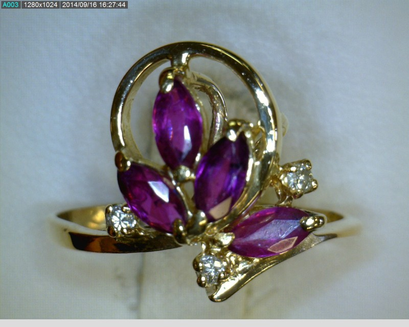 Ruby Lady's Stone & Diamond Ring 3 Diamonds .06 Carat T.W. 14K Yellow Gold