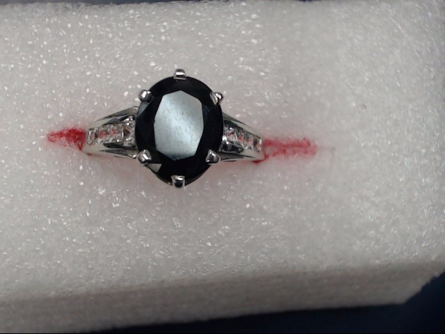 Synthetic Black Star Sapphire Lady's Stone Ring 14K White Gold 3.59dwt