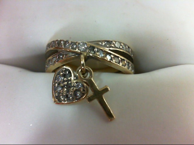 Lady's Gold Ring 14K Yellow Gold 2.3grams Size:2.75 with Diamond Heart and Cross