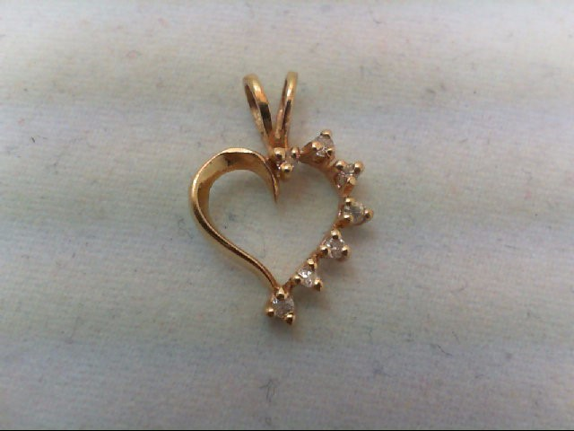Gold-Multi-Diamond Pendant 7 Diamonds .07 Carat T.W. 14K Yellow Gold 0.5g
