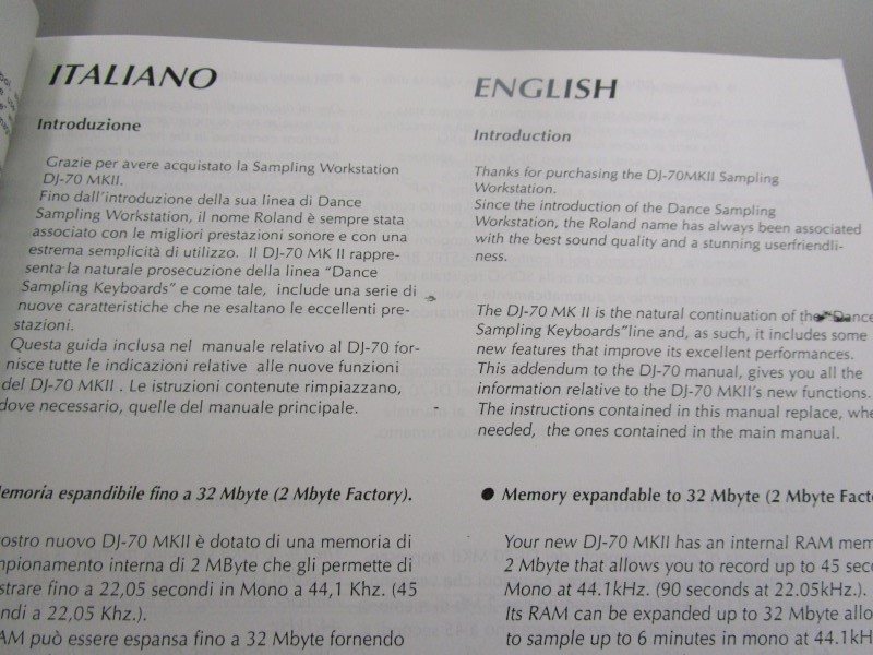 ROLAND DJ-70 MKII MANUAL, COPY, LANGUAGE: ITALIAN AND ENGLISH, 27 PAGES