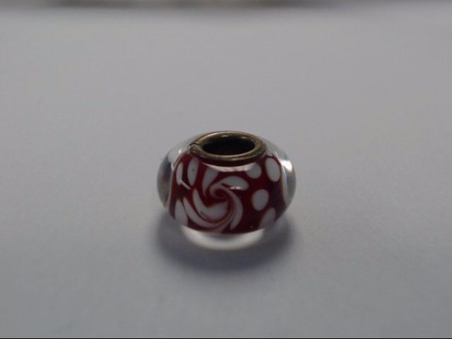 RED AND WHITE SWIRL GLASS BEAD CHARM, WILL FIT ON PANDORA BRACELETS