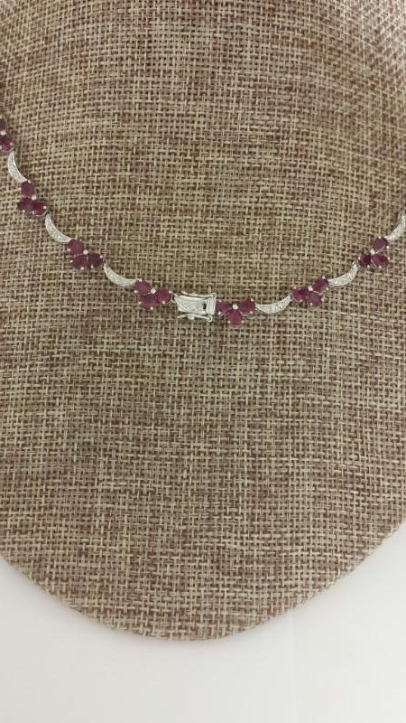 18K White Gold & Natural Pear-Cut Ruby Floral Necklace