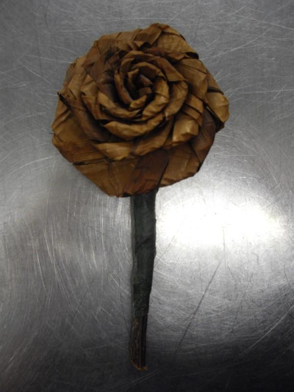 HAND MADE Sculpture/Carving NATIVE CEDAR BARK ROSE