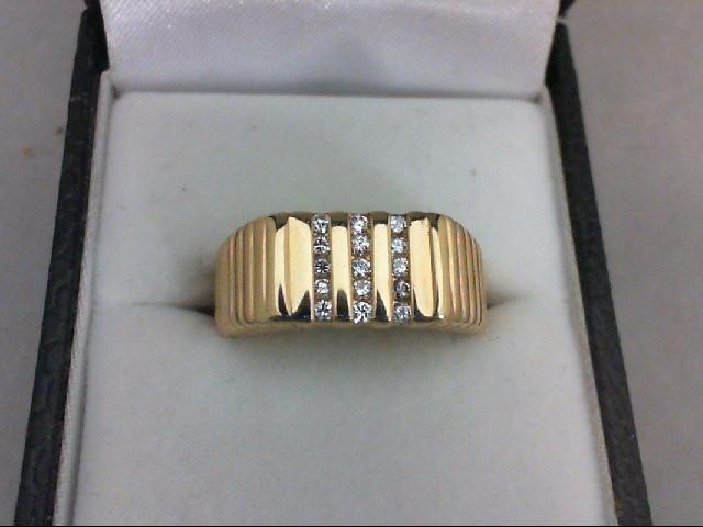Gent's Gold-Diamond Wedding Band 15 Diamonds 0.15 Carat T.W. 14K Yellow Gold 7.2