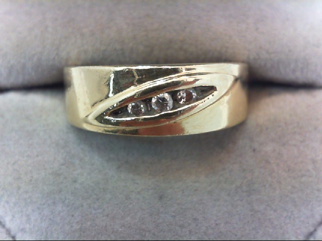 Gent's Diamond Fashion Ring 3 Diamonds .10 Carat T.W. 14K Yellow Gold 7.1g
