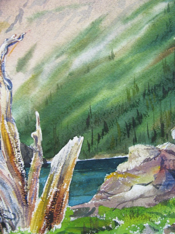 Original Watercolor Painting of Mountain Scene signed by Bruce Haughey, Montana