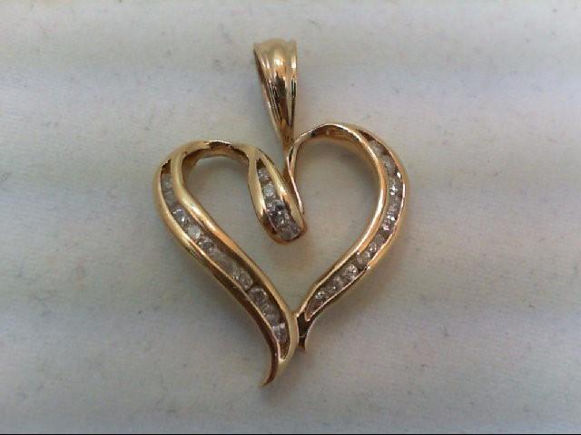 Gold-Multi-Diamond Pendant 24 Diamonds .56 Carat T.W. 10K Yellow Gold 3.7g