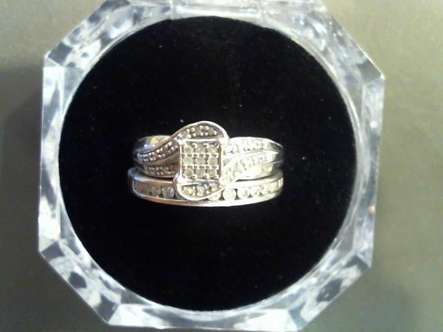 Lady's Silver-Diamond Ring 45 Diamonds .45 Carat T.W. 925 Silver 5.1g Size:7