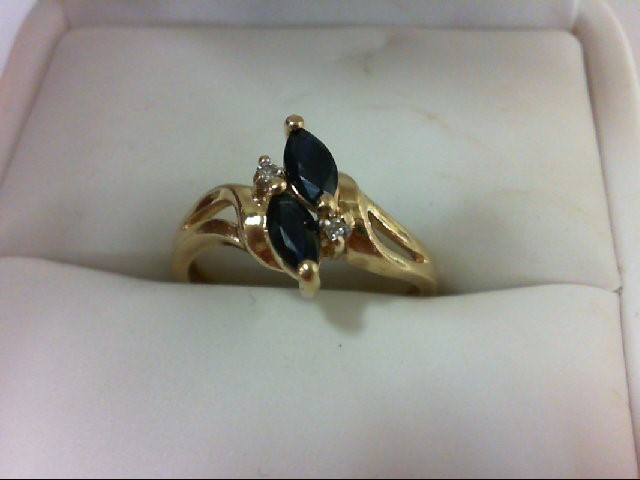 Sapphire Lady's Stone & Diamond Ring 2 Diamonds 0.02 Carat T.W. 14K Yellow Gold