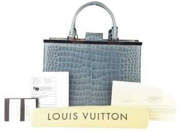 LOUIS VUITTON BLUE CROCODILE AND LEATHER DEESEE PM