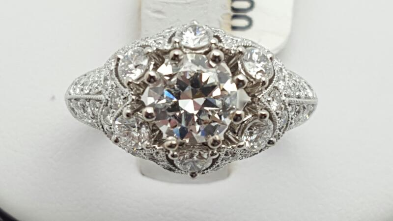 Lady's Diamond Engagement Ring 55 Diamonds 2.00 Carat T.W. 18K White Gold 6.2g