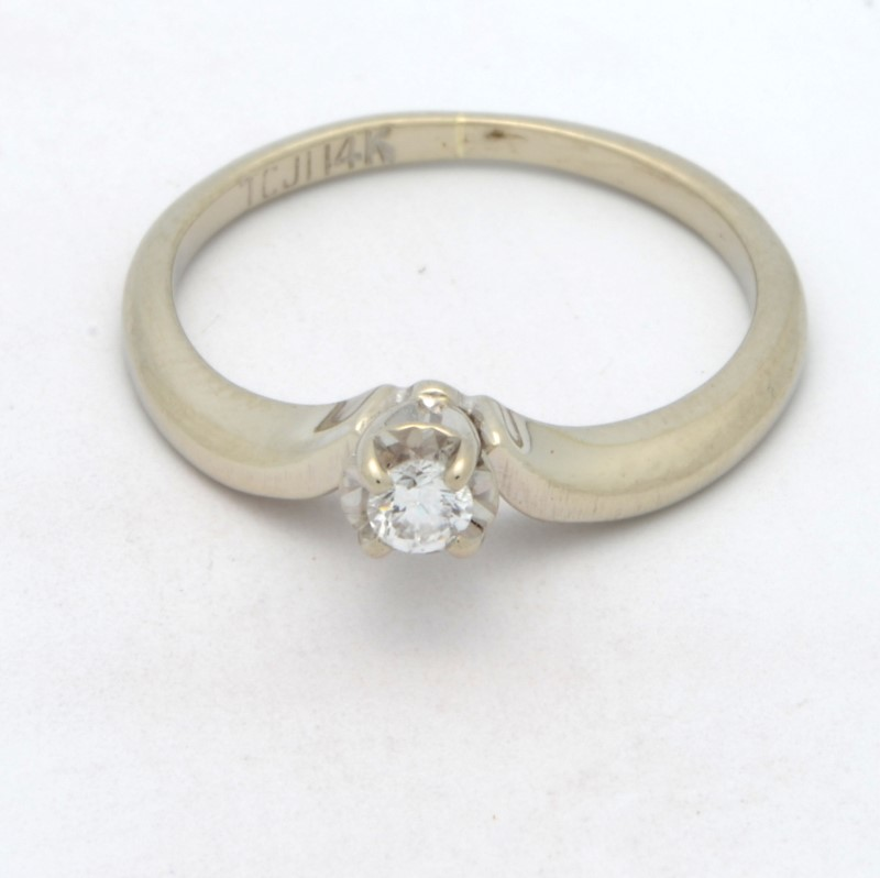ESTATE DIAMOND RING SOLID 14K WHITE GOLD ENGAGEMENT WEDDING SZ 5.25