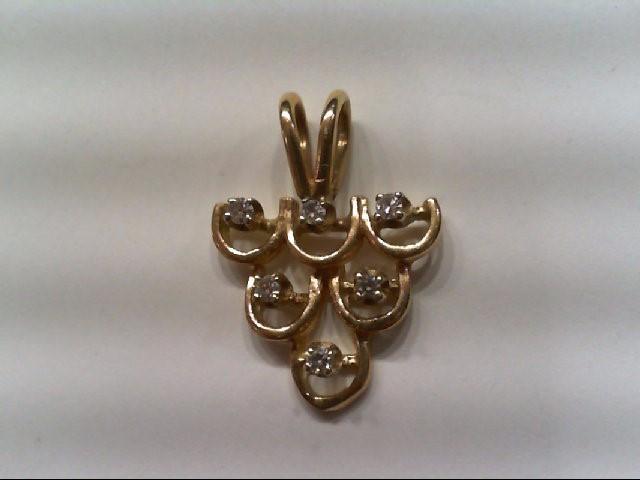 Gold-Multi-Diamond Pendant 6 Diamonds .06 Carat T.W. 14K Yellow Gold 0.9g
