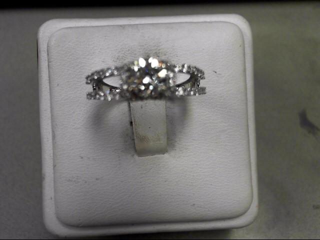 Lady's Diamond Solitaire Ring 55 Diamonds 1.17 Carat T.W. 14K White Gold 3.3g