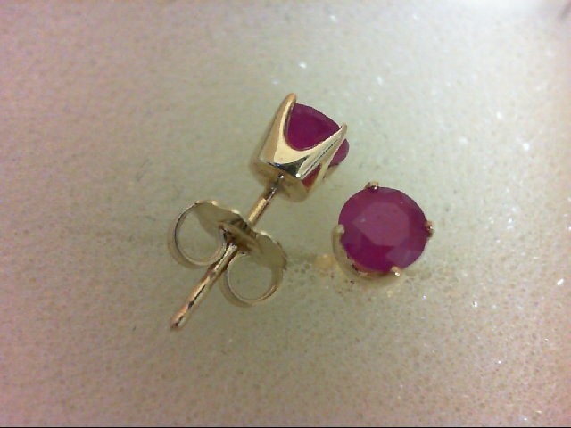 Ruby Gold-Stone Earrings 14K Yellow Gold 1.1g