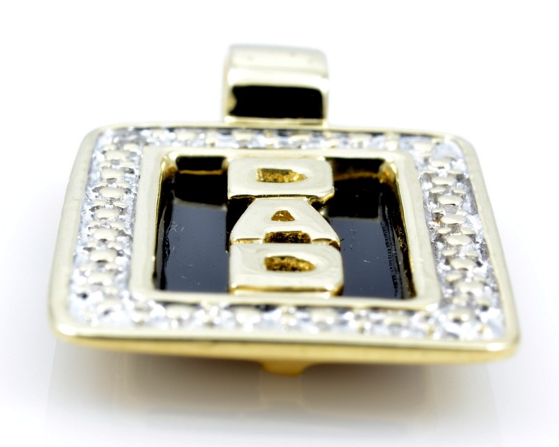 DAD ONYX DIAMOND CHARM PENDANT SOLID 10K GOLD FATHER DAY RECTANGLE